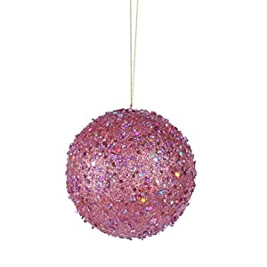 Fancy Carnation Pink Holographic Glitter Drenched Christmas Ball Ornament 3""