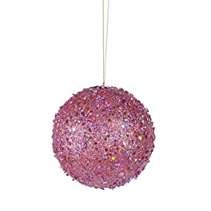 """Fancy Carnation Pink Holographic Glitter Drenched Christmas Ball Ornament 3"""""""