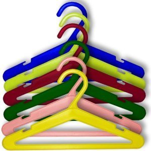 Pack of 50 Quality Plastic Coat Hangers in our classic colour mix. Ideal for Baby & Toddler Clothes - Quality - 26cm wide