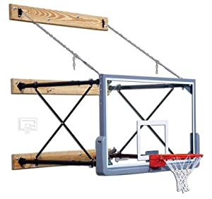 Fold-Up Wall Mount Basketball System with 42 x 72 Glass Backboard and 9-12 Foot... by Gared