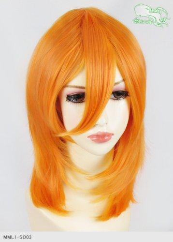 スキップウィッグ 魅せる シャープ 小顔に特化したコスプレアレンジウィッグ フェザーミディ マンゴー