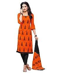 Fabgruh Women's Cotton Unstitched Dress Material (FG-SHD49012_Orange_Free Size)