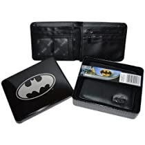 Official DC Comics Black & Silver Batman Logo Wallet in a Tin GIft Box
