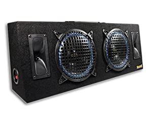 Thump AT-8 800 Watt Dual 8 Inch 2-Way Loaded Subwoofer Box Enclosure w/Compression Horn Tweeters from MOBILE AUTHORITY