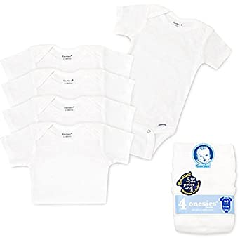 Gerber Newborn 5 Pack Short-Sleeve Onesie Set, White (0-3 Months)