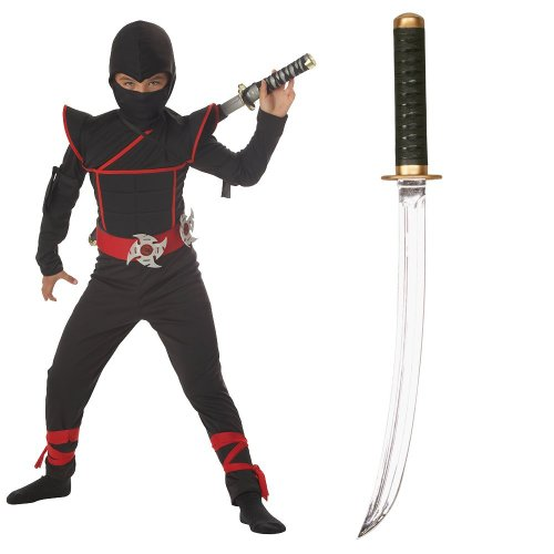Stealth Ninja Child Costume with Sound Effects Ninja Sword, Large (10-12)