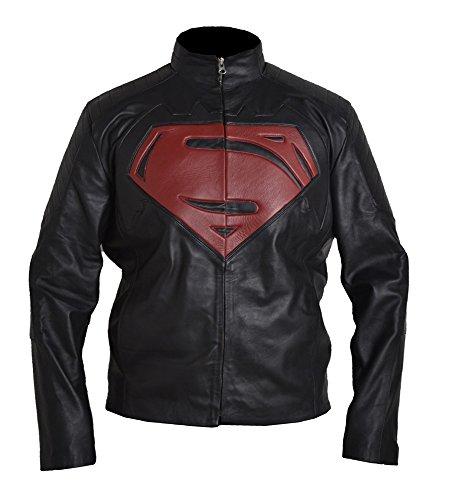 Classyak Men's Fashion Super, vs Batman Giacca vera pelle Faux Black XXXXX-Large