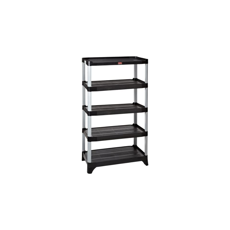 Rubbermaid FG9T3900 Black 5 Shelf Unit Shelving, 800 lbs Capacity, 35.13 Length, 20 Width, 71.38 Height