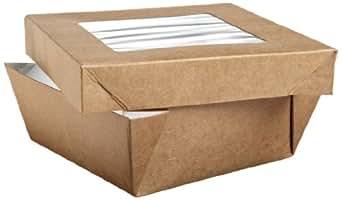 "PacknWood Kraft Brown Square Paper Box With Window Lid, 22 oz Capacity, 4.7"" x 4.7"" x 2"" (10 Packs of 25)"