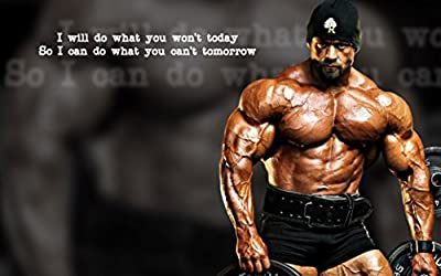 "Bodybuilding Fitness Motivation Motivational Fabric Cloth Rolled Wall Poster Print -- Size: (40"" x 24"" / 21"" x 13"")"