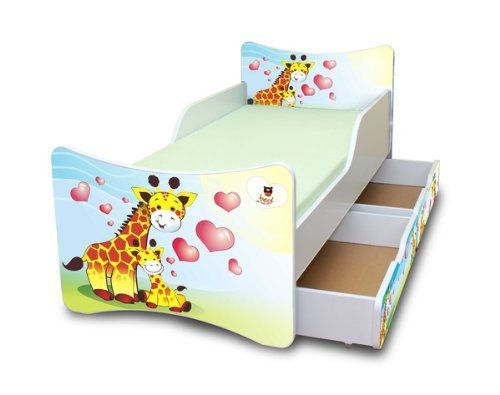 best for kids kinderbett 90x200 mit zwei schubladen giraffen. Black Bedroom Furniture Sets. Home Design Ideas