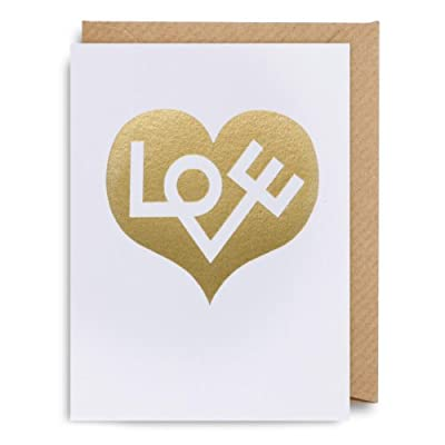 Big Heart Greeting Card - Gold Love