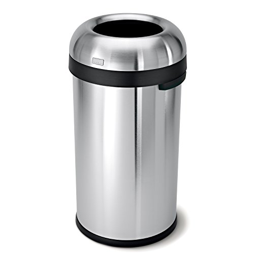 simplehuman Bullet Open Trash Can, Commercial Grade, Stainless Steel, 60 L / 15.9 Gal (Stainless Waste Can compare prices)