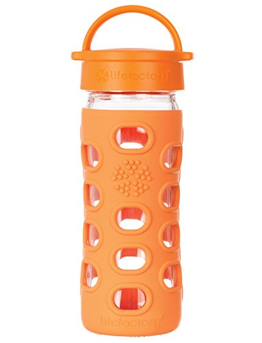 Lifefactory 22-Ounce Glass Bottle with Classic Cap and Silicone Sleeve, Orange