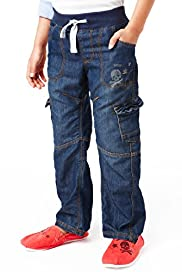 Cotton Rich Straight Leg Ribbed Waistband Jeans