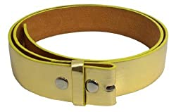 JTC Belts Faux Leather Belt For Buckles Many Colors. Gold. Small