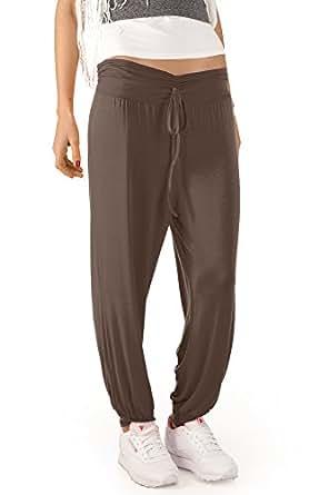Bestyledberlin Pantalon de sport femme, jogging boufant S-M marron clair