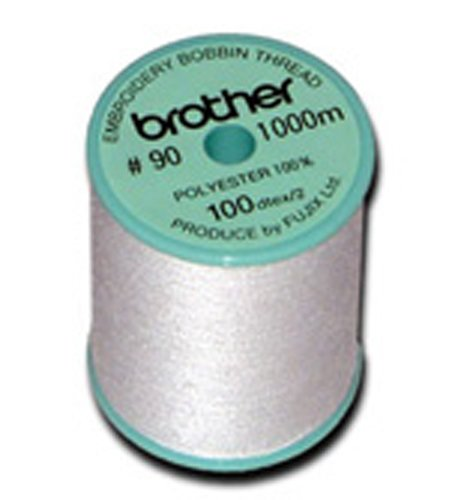 Brother 5 Pack EBTPE 90-Weight Embroidery Thread, White (Bobbins For Brother Pe770 compare prices)