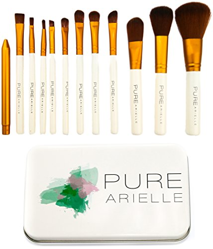 Insane Deal! Ends Today! Pure Arielle Synthetic Makeup Brush Set Includes Metal Travel Organizer Box Case - Best Cheap Make Up Brushes Kit (Best Brush Set compare prices)