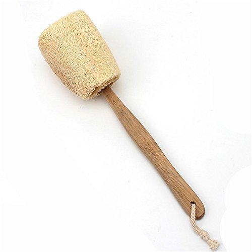 [Best Promotion Wooden Handled Natural Sponge Loofah Back Scrubber Brush Bath Long Reach Shower] (Loofah Costume Materials)