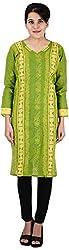 Drishti Lucknowi Chikan Women's Cotton Kurta (DLC-K09, Green, S)