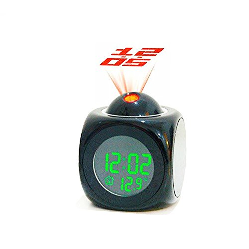 LOHOME(TM) Multi-Function Mini Desktop Digital Weather Projection Wake-Up Alarm Clock Timer, LCD Backlight, Temperature Display