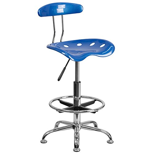 MFO Vibrant Bright Blue and Chrome Drafting Stool with Tractor Seat