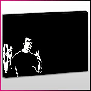C019 bruce lee black and white silhouette framed ready to for Black and white celebrity prints