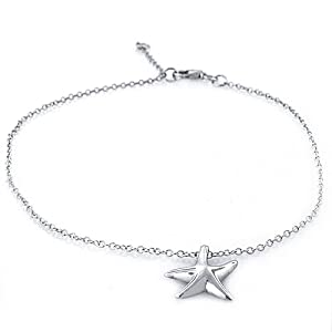Bling Jewelry 925 Sterling Silver Starfish Charm Anklet