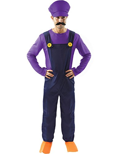 Adult Waluigi Super Mario Bad Plumbers Mate Halloween Costume Outfit