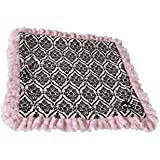 BESSIE AND BARNIE Pet Blanket, X-Large, Versailles Pink/Cotton Candy With Ruffle