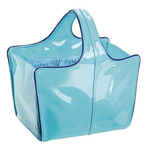 Remy InterDesign Custodia a borsa per bagno e doccia, College Dorm, spiaggia, in pelle, colore: foglia di tè/blu, taglia M, 3 pezzi