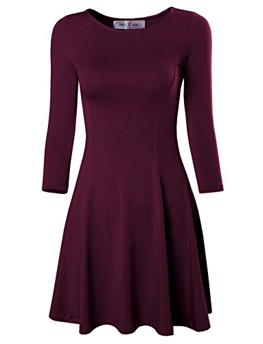 Tom's Ware Women's Casual Slim Fit and Flare Round Neckline Dress TWCWD052-WINE-US XS(Tag Size S)