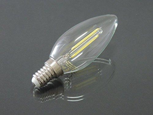 Led Glühlampe Fadenlampe E14 Kerze 2Watt kaltweiss klar