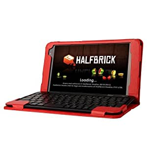Litchi Texture Horizontal Flip Solid Color Leather Case with Keyboard for ASUS T90 Chi (Red)