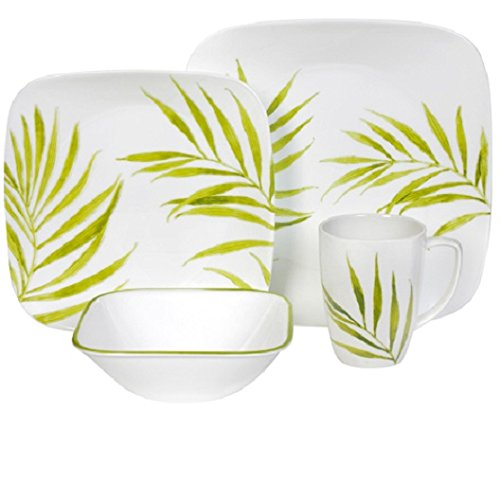 Corelle Bamboo Leaf Square Round 16-Piece Dinnerware Set, Service For 4