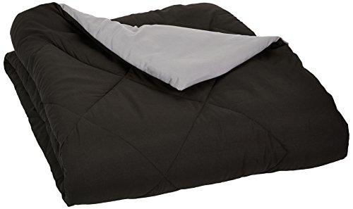 AmazonBasics Reversible Microfiber Comforter - Full/Queen, Black (Amazon Blankets compare prices)