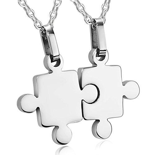 Bishilin Acciaio Inossidabile 2pcs Set Amore Catenina Ciondolo Amicizia Puzzle Argento Coppia Pendente per Lui e Leis Argento