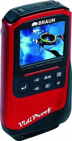 """Braun Phototechnik VidiProof Caméscope Écran 2"""" (5,1 cm) Zoom optique 1x HDMI Flash Full HD 1080p Fonction photo 5 Mpx Étanche Rouge (Import Allemagne)"""