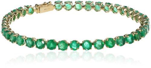14k Yellow Gold Round Genuine Emerald Tennis Bracelet