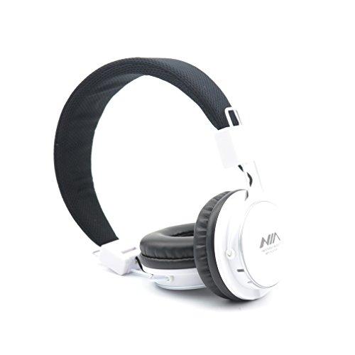 Granvela A809 Foldable Headphone Headset New Fashion Brand Music Player Wireless Handsfree Headset Headphones Earphone,Support Tf Card Fm Radio Monitor Portable Audio Pc _White