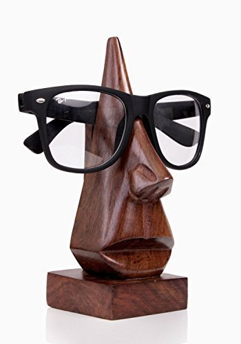 Store Indya Handmade Wooden Nose Shaped Spectacle Holder Specs Stand For Office Desktop/Tabletop