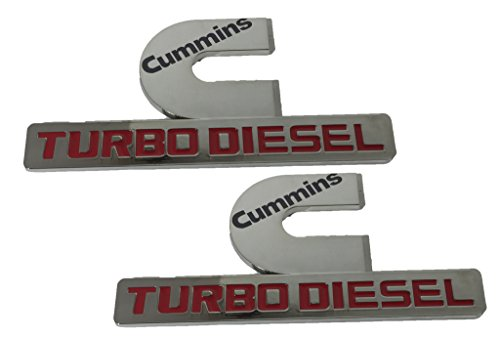X2 Chrome Cummins 12V 24V 4BT 6BT Turbo Diesel Emblem Replaces OEM Mopar 68149701AA, 68149701AB Left OR Right Side (Cummins Turbo Diesel Sticker compare prices)