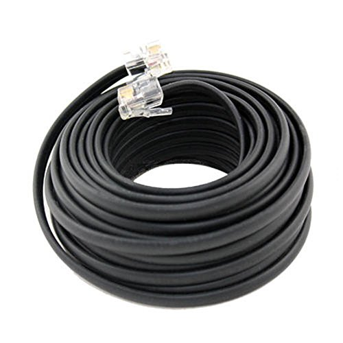 Extension Cords 25 FT Feet RJ11 4C Modular Telephone Extension Phone Cord Cable Line Wire Black (Flat Exterior Extension Cord compare prices)