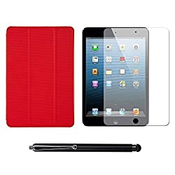 VG Ultra Thin Protective Smart Case Cover with Sleep Mode and Stand for Apple iPad Mini (Red) + Matte Screen + Stylus