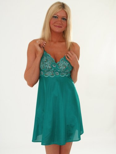 SeXy Chemise Nightgown Lace Trim Sapphire or Jade Color Combo: Jade Medium