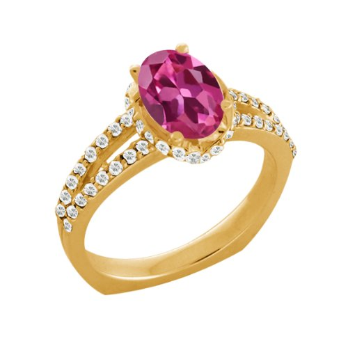 1.36 Ct Pink Tourmaline White Sapphire Yellow Gold Plated Sterling Silver Ring