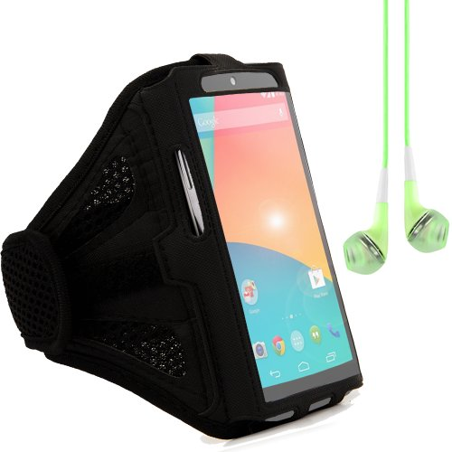 Adjustable Running Sports Gym Armband Pouch Case For Google Nexus 4 / Nexus 5 (Black) + Green Vangoddy Headphones With Mic