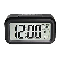 Gloue Digital Alarm Clock Battery Operated with Dual Alarm,temperature Display,snooze and Large Display and Smart Night Light(white Backlight)- Lcd Travel Alarm Clock and Home Alarm Clock.(black)
