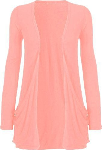 Ladies Women Boyfriend Open Cardigan with Pockets Long Sleeve All Sizes pink XX-Large